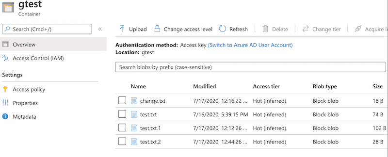 Azure Storage Containers files